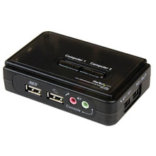 StarTech 2 Port Black USB KVM Switch Kit with Audio and Cables (SV211KUSB)