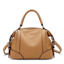 Women's Genuine Leather Top Handle Tote Bag Shoulder Bag Caramel