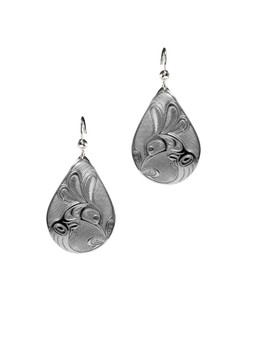 Silver Pewter Hummingbird Teardrop Earrings