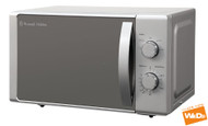 Russell Hobbs RHM2090 20L Silver Compact Digital Microwave Oven with Mirrored Door.