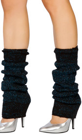 Metallic sparkle knee high knit leg warmers. Pair.