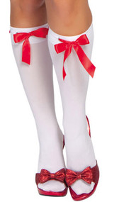 Knee high stockings with ribbon weave and eyelets.