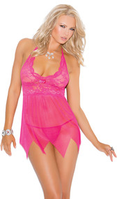 Lace and mesh babydoll features a kerchief hemline, halter neck and satin bow detail. Matching g-string included.