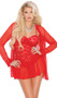 Lace babydoll with underwire cups, adjustable straps and mesh hem. Matching long sleeve mesh jacket with lace trim and g-string included. Three piece set.