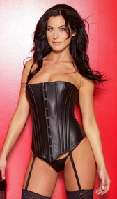 Form-fitting leather corset features boning, front busk opening, and lace-up back. Adjustable and detachable garters. Matching G-string included.