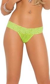 Neon floral lace thong underwear.