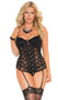 Lace bustier with underwire cups, hook and eye front closure, boning, adjustable straps, and lace up back detail. Matching g-string included. Garters are adjustable and detachable. Two piece set.