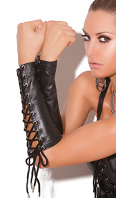 Lace up fingerless elbow length leather gloves/arm guards.