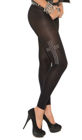 Leggings with cross design in silver studs.