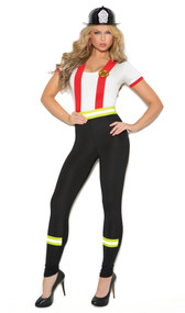 Light My Fire Hero costume includes pants with attached red suspenders, fireman patch and contrasting yellow safety stripes. Short sleeve ringer top also included. Two piece set.