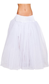 Full length mesh petticoat with satin elastic waistband. Four layers.