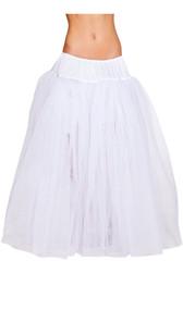 Full length mesh petticoat with satin elastic waistband. Four layers.