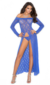 Long sleeve off the shoulder lace gown with front slit and matching g-string. Two piece set.