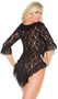 Long sleeve lace and mesh jacket with ruffle trim and matching g-string.