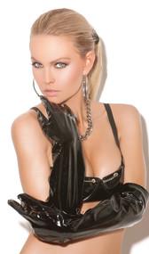 Long black vinyl gloves.