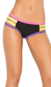 Lycra booty shorts with open sides, neon trim and ruched back.