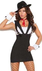 Machine Gun Greta gangster costume includes pinstriped dress with attached suspenders, tie and wrist cuffs. Three piece set.