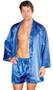Men's satin robe with sash.