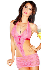 Mesh and rose lace halter cut out chemise with satin ribbon back. Includes matching g-string.