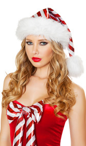 Fur trimmed striped Santa hat. The stripes are metallic red and silver, trim is white.