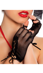 Mini fishnet lace up fingerless tip gloves.
