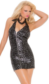 Moto style halter dress with metallic animal print, exposed offset side zipper, and low cut back.