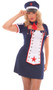 Naval Knockout costume includes dress with attached light up apron, neck tie and hat. The star on the apron is outlined in lights, which turn on with a mini switch located on the back of the apron. Three piece set.