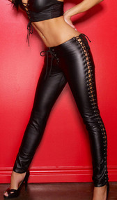 Made from the softest leather, these pants fit like a second skin. The low rise elongates the torso and emphasizes curves. The ultra-sexy lace-up sides reveal a tantalizing glimpse of bare leg, and the lace-up front is a seductive touch.