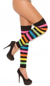 Neon striped leg warmers.