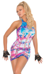 Neon tie dye mini halter style dress with pothole detail cut outs.