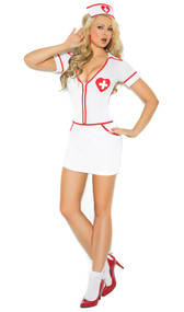 Heart Throb Hottie Nurse costume includes zip front mini dress with short sleeves and V neck featuring a medical cross within a heart and red trim. Matching head piece included.