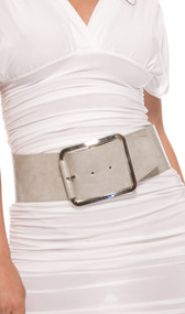 This oversized buckle belt features a gray faux leather front and solid gray elastic band on the back and sides.