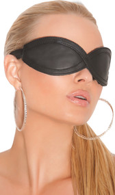 Textured leather blindfold with adjustable elastic strap. Inside is padded and fleece-lined for comfort.