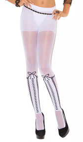 Pantyhose with faux lace up detail