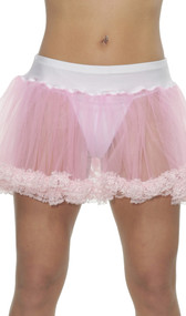 This petticoat with lace trim will complete any outfit with a pretty feminine finish. Features two layers of mesh with lace trim on both layers.