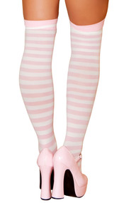 Pink and white horizontal striped stockings.