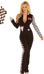 Race Car Driver costume includes: zip front jumpsuit with checkered detail on collar, sides and sleeve, and checkered racing flag. Two piece set.