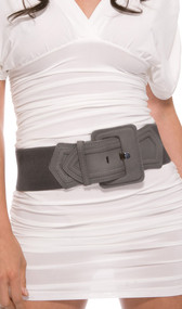 This rectangle buckle belt is trendy and playful all at once. Features a gray faux suede leather front and solid gray elastic band on the back and sides.