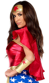 Red hero cape with collar and adjustable tie closure. Ties around the neck.