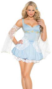 Sassy Cinder Babe princess costume includes sleeveless mini dress with lace and satin bow detail and arm bands. Two piece set.