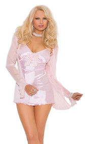 Satin babydoll with mesh bow, heart rhinestone pin, and adjustable straps. Mesh long sleeve coat and matching g-string included. Three piece set.