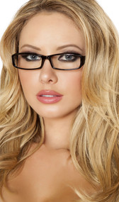 Secretary librarian costume glasses with rectangle frame and clear plastic lenses.