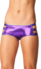 Sequin boyshorts with cut out metallic band sides. Full sequin back. Inside is fully lined.