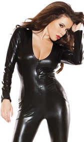 Wet look long sleeve catsuit with low neckline and full back. Zippered front.
