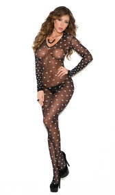 Sheer long sleeve polka dot bodystocking with open crotch.