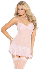 Mesh chemise with embroidered underwire cups, bow accent detail, and adjustable straps. Garters are adjustable and detachable.