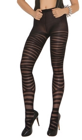 Sheer pantyhose with zig zag horizontal striped print.