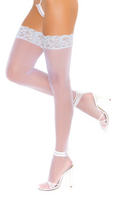 Sheer white thigh high stockings with baby blue lace top.