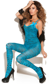 Sheer zebra print bodystocking with satin bows and open crotch.