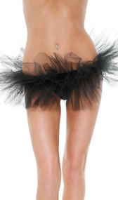 This tutu style petticoat features an elastic waist and four ruffled mesh layers.